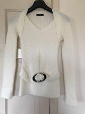 JANE NORMAN UK 12 CREAM BODY CON LONG Cable Knit JUMPER MINI SILVER BUCKLE