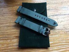 20mm Rolex Green Leather Black Thread Band with Steel Buckle
