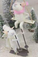 GISELA GRAHAM CHRISTMAS ECO WOOL MOUSE ON SWING / SKIS DECORATION
