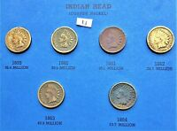 1859-1864 COPPER NICKEL INDIAN HEAD CENTS, PENNY, 6 COINS #4