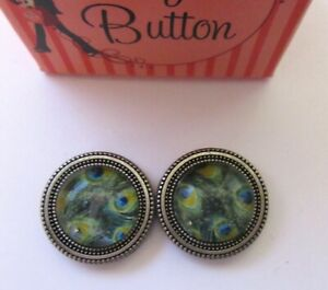 Magnetic Buttons -set of 2- PEACOCK  round green  blue-use on scarf hat