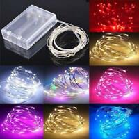 20/30/50 LED Battery Fairy String Lights  Micro Rice Wire Copper Party white/rgb