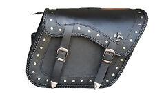 20082 Skull Irom Cross Zip-Off Eagle Motorcycle Leather Saddle Bag