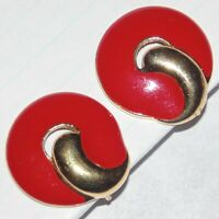 Vintage signed Trifari TM red enamel gold tone round circle clip earrings