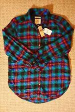 American Eagle Women's Boyfriend Fit Flannel Shirt Teal S
