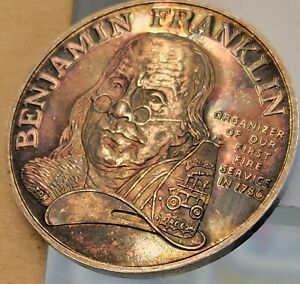 ben franklin firefighters silver medal VERY NICE TONING proof like