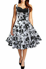 125 NEW WHITE & BLACK  FLORAL FULL CIRCLE ROCKABILLY SWING DRESS SIZE 8 BN