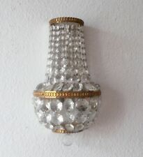 Wandlampe mit Kristallglas Behang, Bronze/Messing, ca. 70er Jahre, ca. 30 cm
