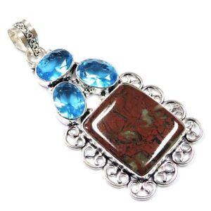 "110.00Cts Natural Red Jasper & Blue Topaz Silver Overlay Handmade Pendant 3"""
