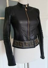 Versace for h&m Blouson Cuir Veste en Cuir Noir leatherjacket leather jacket 34 4