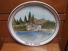 Piatto ceramica PUNTA S. VIGILIO dipinto a mano handpainted ceramic dish GARDA