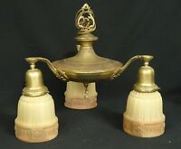 ANTIQUE ART DECO 3 PENDANT BRASS CROP CENTER FINIAL CHANDELIER