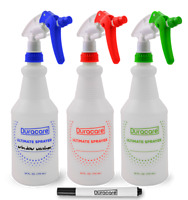 Duracare 24 oz Commercial Spray Bottles 3PK with Funnel & Markers