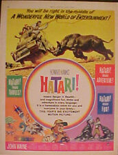 "1962 JOHN WAYNE ""HATARI"" MOVIE RHINO~ELEPHANT ART AD"