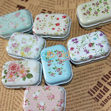 Mini Jewelry Box Decor Card Pill Case Flower Iron Tin Storage Bag Gift KZUK