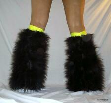 BLACK YELLOW  FLUFFIES FLUFFY LEGWARMERS BOOTS COVERS FURRIES GO GO HEN PARTY