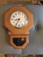 Vintage General Electric Birch Wood Pendulum Wall Clock