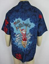 Toes on the Nose Hawaiian shirt Santa Mele Kalikimaka USA Made Mens Size L