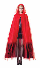 Ladies Red & Black Ombre Hooded Cape Halloween Horror Fancy Dress