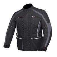 Men's Motorcycle Motorbike Jacket Waterproof Textile Cordura CE Armour Grey