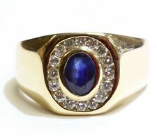 14k yellow gold .48ct SI1 H diamond mens sapphire ring 8.6g gents vintage