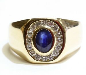 14k yellow gold .48ct SI1 H diamond mens sapphire ring 8.6g gents vintage