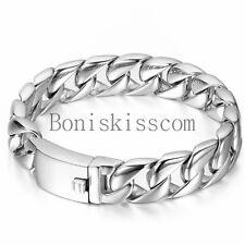 Silver Color High Polished Stainless Steel Curb Chain Link Buckle Mens Bracelet