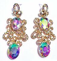 Chandelier Earrings AB Rhinestone Crystal 2.8 inch