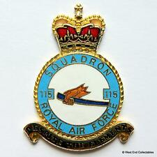 RAF 115 Squadron DANBURY MINT Blank Badge -24ct Gold Plate 1970s Royal Air Force