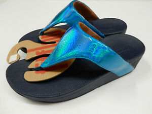 FitFlop Womens Lottie Iridescent Scale Toe Post Sandals Sea Blue 9
