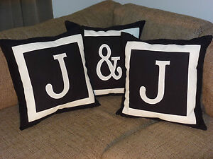 3 PACK PERSONALISED CUSHION COVER SET - MONOGRAM INITIAL - Choose colour/letters
