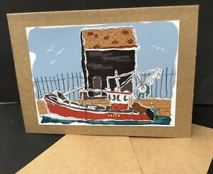 Red Boat At The Harbour Blank  Card A5  , Photo Original Art Print Nautical