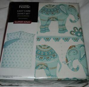 Easy Care Super King Duvet Set + 2 Pillowcases Zen Elephant Polycotton Brand New