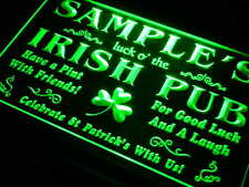 qv-tm Name Personalized Custom Luck o' the Irish Pub St Patrick's Neon Light Sig