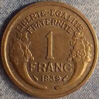 PIÈCE MONNAIE 1 FRANCS  BRONZE 1939    Ref : 00110