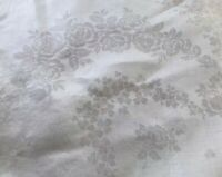 Vintage Large Off White Linen ROSES SHAMROCKS Damask Tablecloth 87X72 INCHES