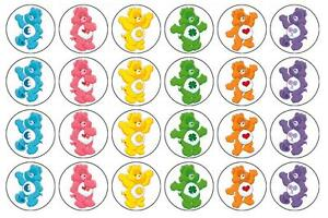 24 x Care Bears Edible image cupcake toppers Pre-Cut