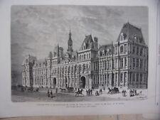 GRAVURE SUR BOIS 19è CONCOURS RECONSTRUCTION HOTEL VILLE DE PARIS BALLU PERTHES
