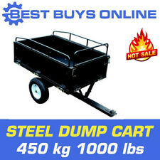 Steel Dump Cart 450 kg 1000 lbs Tow Behind Ride on mower Tipping Trailer 14 Cuft