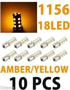 10x Yellow BA15S 1156 18-SMD 5050 LED Backup Brake Turn Signal Light Bulb Lamp