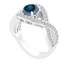 Platinum 1.53 Carat Enhanced Fancy Blue Diamond Engagement Ring Bridal Certified
