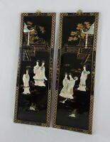 2 Vintage Asian Black Lacquer Mother of Pearl Wall Panels Art Asian Geisha Women