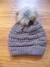 C.C TAUPE KNIT HAT WITH POM POM, 100% ACRYLIC KNIT, NEW WITH TAGS