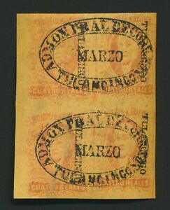 MEXICO STAMPS 1861 Sc #10 4r HIDALGO RED ON YELLOW, TULANLINCO CTO, BLK 4 OG