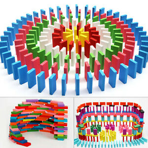 100pcs Coloured Wooden Tumbling Dominoes Games For Kids Childrens Fun Play Toy