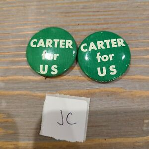 Lot of 2 Presidential Pins Reproduction VTG Jimmy Carter for US Vintage Button