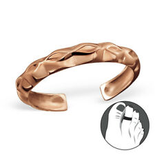 TJS 925 Sterling Silver Toe Ring Abstract Diamond Pattern Adjustable Rose Gold