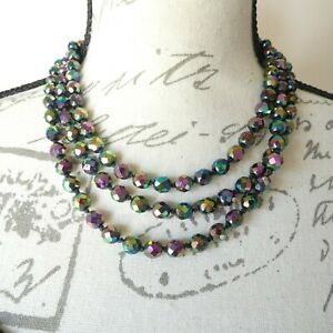 Vintage Austrian Faceted Crystal Glass Beaded Necklace 3 Strand Carnival Petrol