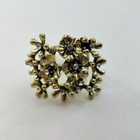 Floral Cocktail Ring Size 11 Gold Tone Big Statement Rhinestone Bling Textured