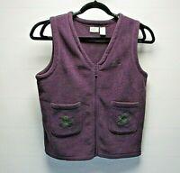 LL Bean Women's X-Large Fleece Sleeveless Sweatshirt Vest Purple V-Neck